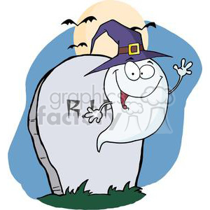 3216-Happy-Halloween-Ghost-Flying-Next-To-Tombstone-And-Bats-Near-A-Full-Moon clipart. Commercial use image # 380572