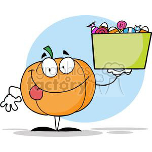 3207-Happy-Pumpkin-Character-Holding-Up-A-Tub-Of-Candy clipart. Royalty-free image # 380582