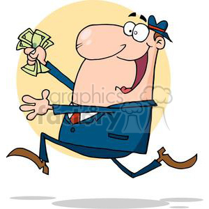 3152-Happy-Businessman-Running-With-Dollars-In-Hand clipart. Royalty-free image # 380597