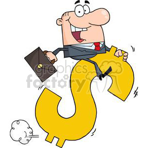3283-Successful-Businessman-Riding-On-A-Dollar-Symbol clipart. Commercial use image # 380602