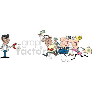guy attracting people with money using a magnet clipart. Commercial use image # 380612