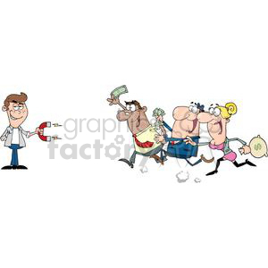 3185-Young-Businessman-Using-A-Magnet-Attracts-People-With-Money clipart. Commercial use image # 380617