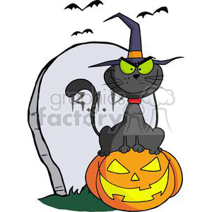 3225-Halloween-Cat-on-Pumpkin-Near-Tombstone-And-Bats