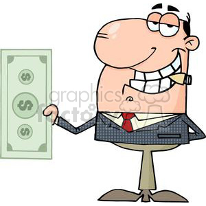 businessman holding a big dollar bill clipart. Royalty-free image # 380632