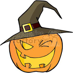 3107-Halloween-Pumpkin-Winking-A-Witch-Hat clipart. Commercial use image # 380637