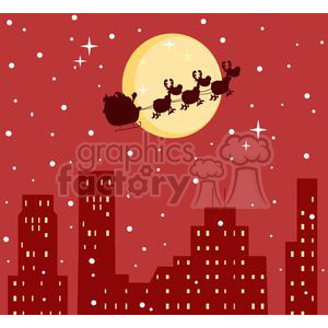 3144-Black-Silhouette-Of-Santa-And-A-Reindeers-Flying-In-A-Sleigh clipart. Royalty-free image # 380652