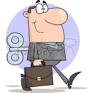 3247-Businessman-With-Wind-up-Key-In-His-Back clipart. Royalty-free image # 380657