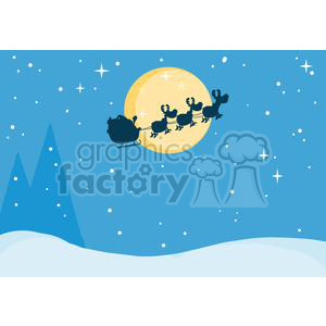 3141-Black-Silhouette-Of-Santa-And-A-Reindeers-Flying-In-A-Sleigh clipart. Commercial use image # 380667