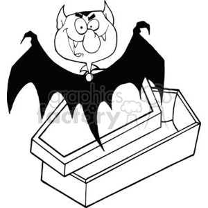 Black and white Dracula bat waking up clipart. Commercial use image # 380672