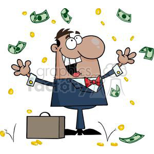 3196-Happy-African-American-Businessman-With-Money clipart. Commercial use image # 380677
