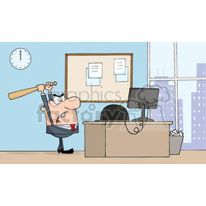 3313-Angry-Businessman-With-Baseball-Bat-In-Office clipart. Commercial use image # 380682
