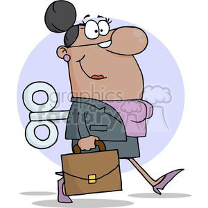 Businesswoman-With-Wind-up-Key-In-His-Back clipart. Commercial use image # 380692