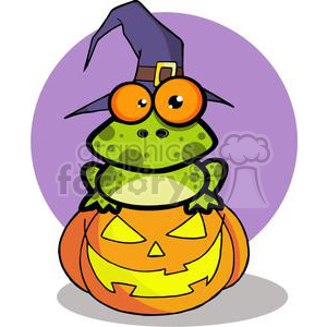 3223-Frog-With-A-Witch-Hat-In-Pumpkin clipart. Royalty-free image # 380697