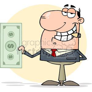 3190-Businessman-Shows-Big-Dollar clipart. Commercial use image # 380702