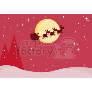 3142-Black-Silhouette-Of-Santa-And-A-Reindeers-Flying-In-A-Sleigh clipart. Commercial use image # 380707