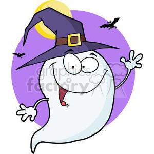 3203-Happy-Halloween-Ghost-Flying-In-Night clipart. Commercial use image # 380712