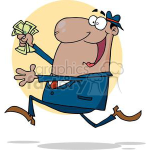 3154-Happy-African-American-Businessman-Running-With-Dollars-In-Hand clipart. Royalty-free image # 380722