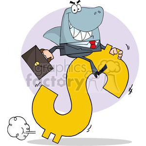 business shark riding a dollar symbol