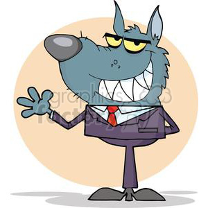3262-Wolf-Business-man-Waving-A-Greeting clipart. Commercial use image # 380732