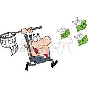 3295-Happy-Businessman-Chasing-Money clipart. Commercial use image # 380737