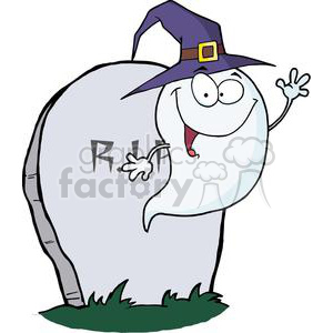 3215-Happy-Halloween-Ghost-Flying-Next-To-Tombstone clipart. Commercial use image # 380742