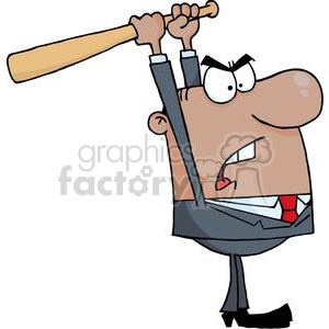 3309-Angry-African-American-Businessman-With-Baseball-Bat clipart. Royalty-free image # 380757