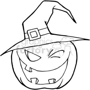 3106-Halloween-Pumpkin-Winking-A-Witch-Hat clipart. Commercial use image # 380767