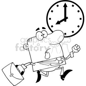 businessman being late for work clipart. Commercial use image # 380772