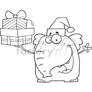 3290-Happy-Christmas-Elephant-Holds-Up-Gifts clipart. Commercial use image # 380777