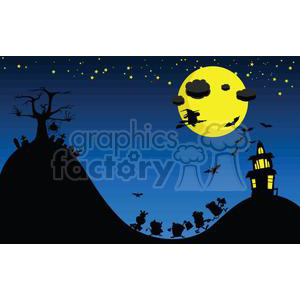 cartoon vector illustrations Halloween haunted house trick or treat landscape moon night graveyard