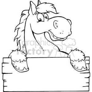 3362-Outlined-Happy-Cartoon-Horse-With-A-Blank-Sign clipart. Commercial use image # 380833