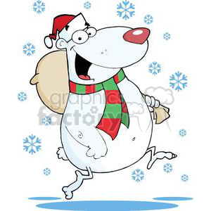 3323-Happy-Santa-Bear-Runs-With-Bag-In-The-Snow clipart. Commercial use image # 380843