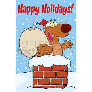 3430-Happy-Santa-Bear-Waving-A-Greeting-In-Chimney-With-Speech-Bubble clipart. Commercial use image # 380853