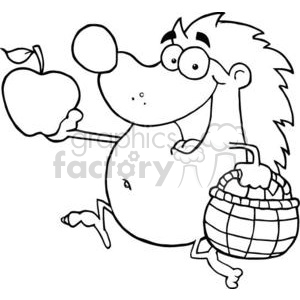 3380-Happy-Hedgehog-Runs-With-Apple clipart. Commercial use image # 380863