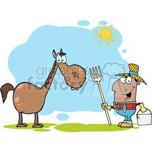 3374-African-American-Farmer-With-Horse clipart. Royalty-free image # 380868