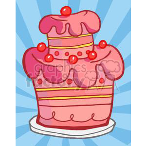 3495-Royalty-Free-RF-Clipart-Illustration-Pink-Two-Tiered-Cake clipart. Royalty-free image # 380883
