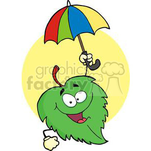 3388-Happy-Green-Leaf-With-Umbrella clipart. Royalty-free image # 380893