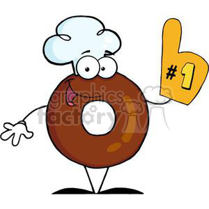 3472-Friendly-Donut-Cartoon-Character-Number-One clipart. Royalty-free image # 380908