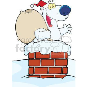3440-Happy-Santa-Polar-Bear-Waving-A-Greeting-In-Chimney clipart. Commercial use image # 380913