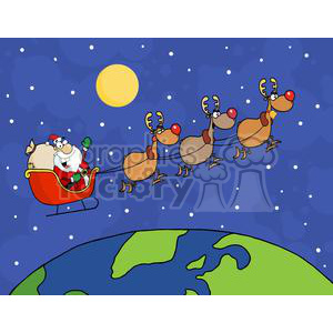 cartoon funny Holidays Christmas Santa+Claus sleigh reindeer Rudolph red+nosed flying Christmas+Eve