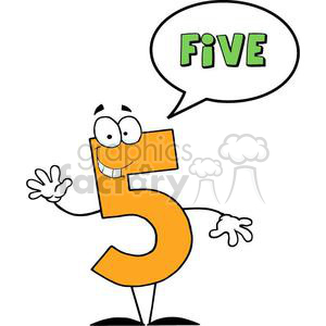cartoon funny Holidays vector number numbers character people 5 five