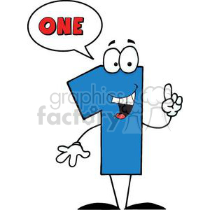 cartoon funny Holidays vector number numbers character people 1 one happy blue