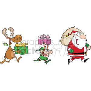 3337-Happy-Santa-Claus,Elf-and-Reindeer-Runs-With-Gifts clipart. Royalty-free image # 380953