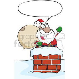 3403-African-American-Santa-Claus-In-Chimney clipart. Royalty-free image # 380958