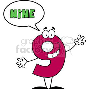 3463-Friendly-Number-9-Nine-Guy-With-Speech-Bubble clipart. Royalty-free image # 380973