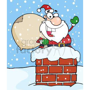 Santa Claus going down chimney clipart. Royalty-free image # 380988