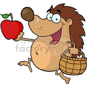 3381-Happy-Hedgehog-Runs-With-Apple clipart. Royalty-free image # 380993