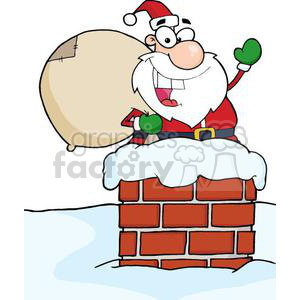 3398-Santa-Claus-In-Chimney clipart. Royalty-free image # 380998