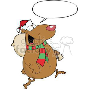 3318-Happy-Santa-Bear-Runs-With-Bag clipart. Royalty-free image # 381003