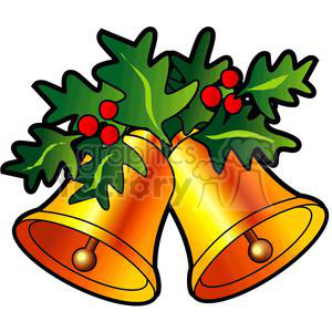 Golden Christmas Bells With Holly Berries clipart. Commercial use image # 142917